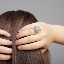 New Accent kék csiszolt beton gyűrű, négyzetes